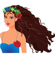 girl in wreath vector image vector image