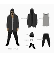 Glasses with a cap pants with a hoodie vector image