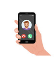 hand holding smartphone with incoming call on the vector image vector image