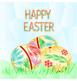 happy easter easter eggs with grass polygons vector image