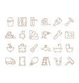 home repair icons construction building engineer vector image