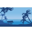 Hut in seaside scenery silhouette vector image vector image