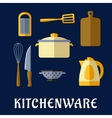 Kitchenware and utensil isolated flat icons vector image