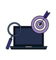 laptop with target and magnifying glass vector image vector image