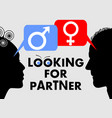 looking for partner dating banner with woman and vector image