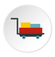 luggage trolley with suitcases icon circle vector image vector image