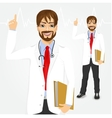 male hipster doctor pointing up vector image vector image