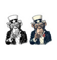 monkey uncle sam with pointing finger at viewer vector image vector image