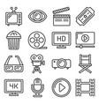 movie cinema icons set line style vector image vector image