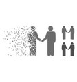 moving pixel halftone persons handshake icon vector image vector image