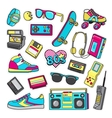 Patch Icons of 80 s On White Limited Background