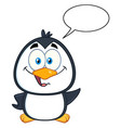 penguin character waving with speech bubble vector image