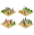people and bicycle 2x2 design concept vector image vector image