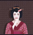 portrait geisha holds finger to her lips vector image