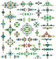 Set of bright geometric tribal design elements vector image