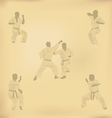 Set of images of karate on old paper vector image vector image