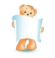 teddy bear and empty placard vector image vector image