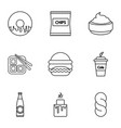 unhealthy food icons set outline style vector image vector image