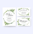wedding floral green invite rsvp thank you card vector image vector image