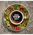 with a Cup of coffee and hand vector image vector image