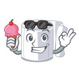 with ice cream character toilet paper rolled on vector image vector image