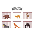 Zoo Collection of wild animals in cages Beasts vector image