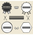 Comb hair brush vintage symbol emblem label vector image