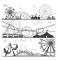 amusement parks with funny attractions monochrome vector image vector image
