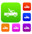 car towing truck set collection vector image vector image