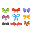 cartoon cute gift bows with ribbons color vector image