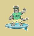 cat surfer emblem vector image