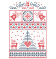 christmas pattern in rectangle frame in red blue vector image vector image