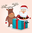 cute santa claus big gift with reindeer design vector image