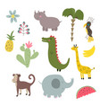 cute set of animals and vector image