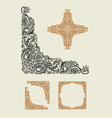 Dragon corner floral ornament decoration vector image vector image