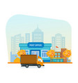 exterior of post office autumn city street vector image