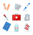 first aid kit realistic set vector image
