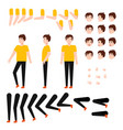 flat caucasian student creation set vector image
