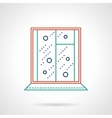 Flat color line window icon vector image