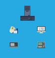 flat icon computer set of vintage hardware vector image vector image