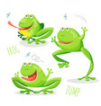 funny cartoon jumping frog set sketch vector image