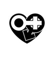 gender icons in black heart a symbol love vector image vector image