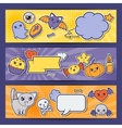 Halloween kawaii horizontal banners with cute vector image vector image