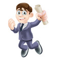 happy businessman and scroll vector image vector image