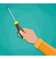 Human hand and screwdriver with plastic handle vector image vector image