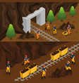 isometric coal extraction horizontal banners vector image vector image