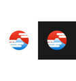 japanese red logo with fuji mountain and japan vector image vector image