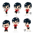 kid boy playing football soccer collection vector image