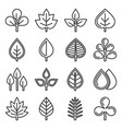 leaf icons set on white background line style vector image vector image
