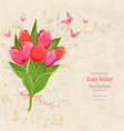 lovely bouquet of pink tulip on grunge background vector image vector image